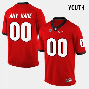 Georgia #00 Youth Customized Jerseys Red Player College Limited Football 786167-265