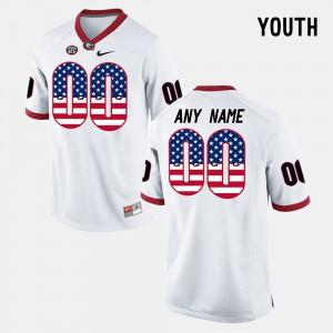 Georgia #00 For Kids Custom Jersey White Alumni US Flag Fashion 599394-912