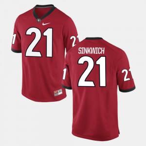 UGA #21 For Men's Frank Sinkwich Jersey Red College Alumni Football Game 558317-140
