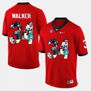 University of Georgia #34 For Men Herschel Walker Jersey Red Embroidery Player Pictorial 376112-133