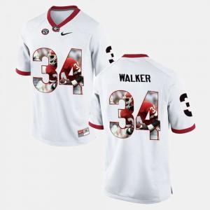 Georgia Bulldogs #34 Men Herschel Walker Jersey White Player Pictorial University 700515-830