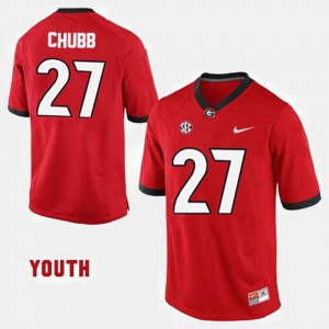 UGA #27 Youth Nick Chubb Jersey Red College Football High School 550134-119