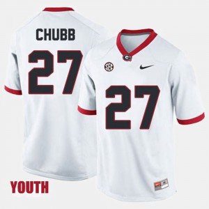 Georgia #27 Kids Nick Chubb Jersey White Official College Football 146037-280