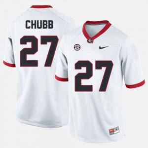 Georgia Bulldogs #27 Mens Nick Chubb Jersey White College Football High School 371672-551