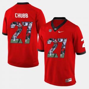 UGA Bulldogs #27 Mens Nick Chubb Jersey Red Player Pictorial High School 374845-829