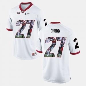 UGA Bulldogs #27 Men's Nick Chubb Jersey White Player Pictorial College 961894-621