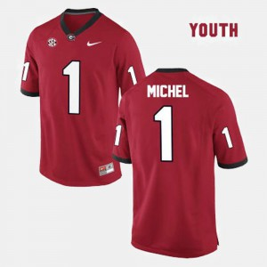 UGA Bulldogs #1 Youth(Kids) Sony Michel Jersey Red College Football College 708989-711