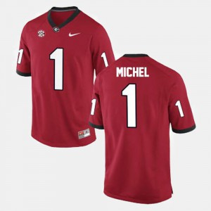 UGA Bulldogs #1 Mens Sony Michel Jersey Red Stitch College Football 705296-973