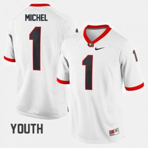 Georgia Bulldogs #1 Youth Sony Michel Jersey White University College Football 890440-327