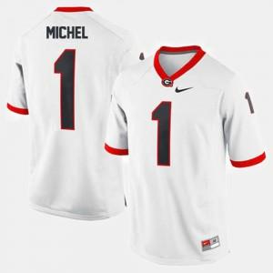 GA Bulldogs #1 Mens Sony Michel Jersey White Stitch College Football 351175-418