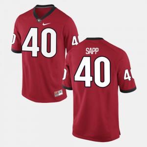 GA Bulldogs #40 Men's Theron Sapp Jersey Red Official Alumni Football Game 296363-123