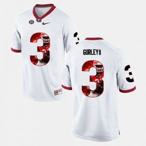UGA #3 Mens Todd Gurley II Jersey White Stitch Player Pictorial 208325-354
