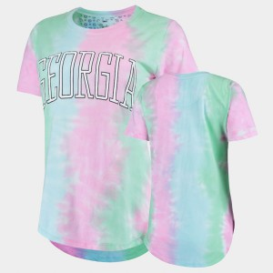 University of Georgia Ladies T-Shirt Rainbow Bay Tie Dye Stitched 620763-671