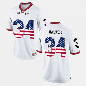 Georgia Bulldogs #34 Men Herschel Walker Jersey White Stitched US Flag Fashion 927183-566