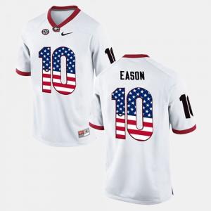 Georgia Bulldogs #10 For Men Jacob Eason Jersey White Stitched US Flag Fashion 402245-132