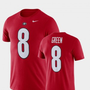 GA Bulldogs #8 For Men's A.J. Green T-Shirt Red Stitched Football Performance 366203-802