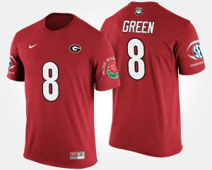 University of Georgia #8 Mens A.J. Green T-Shirt Red Southeastern Conference Rose Bowl Bowl Game Stitch 881937-780