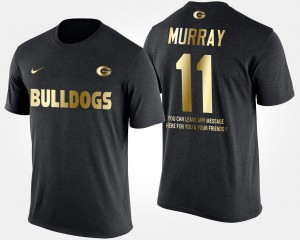 GA Bulldogs #11 For Men's Aaron Murray T-Shirt Black Short Sleeve With Message Gold Limited Stitched 606111-136