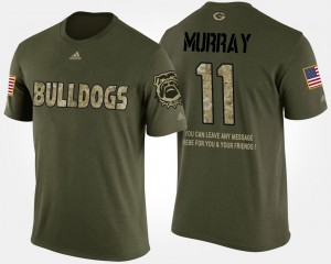 UGA #11 Mens Aaron Murray T-Shirt Camo Stitch Military Short Sleeve With Message 158130-786
