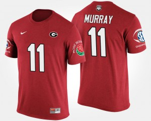 University of Georgia #11 Men's Aaron Murray T-Shirt Red College Bowl Game Southeastern Conference Rose Bowl 132490-322