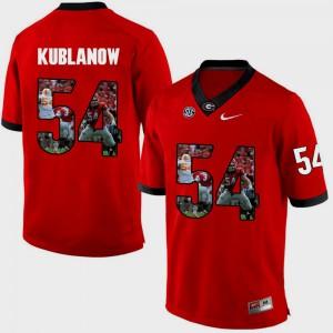 University of Georgia #54 Men's Brandon Kublanow Jersey Red Alumni Pictorial Fashion 317208-326