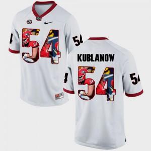 Georgia Bulldogs #54 Men's Brandon Kublanow Jersey White Pictorial Fashion Stitch 639408-159