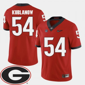 GA Bulldogs #54 Men's Brandon Kublanow Jersey Red 2018 SEC Patch College Football Official 831654-881