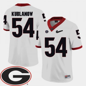 University of Georgia #54 For Men Brandon Kublanow Jersey White NCAA College Football 2018 SEC Patch 511239-222
