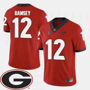 UGA Bulldogs #12 Men's Brice Ramsey Jersey Red Official 2018 SEC Patch College Football 655038-248