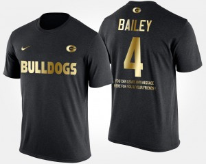 UGA Bulldogs #4 Men's Champ Bailey T-Shirt Black University Short Sleeve With Message Gold Limited 543433-554