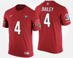 GA Bulldogs #4 For Men Champ Bailey T-Shirt Red Stitch Southeastern Conference Rose Bowl Bowl Game 197443-754