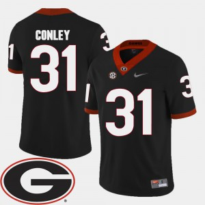 UGA #31 For Men's Chris Conley Jersey Black Embroidery College Football 2018 SEC Patch 229710-365