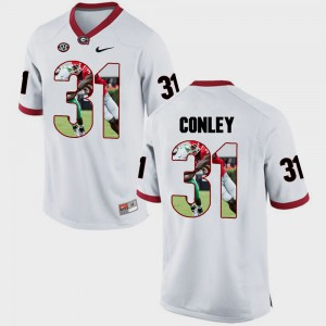UGA #31 For Men Chris Conley Jersey White College Pictorial Fashion 125582-623