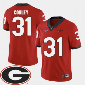 University of Georgia #31 Men Chris Conley Jersey Red 2018 SEC Patch College Football Stitch 448499-440