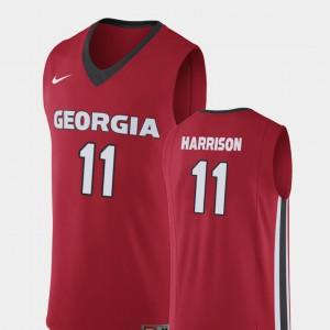 GA Bulldogs #11 Men Christian Harrison Jersey Red College Basketball Replica Stitch 216444-865