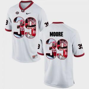 UGA Bulldogs #39 Mens Corey Moore Jersey White Pictorial Fashion University 961088-336