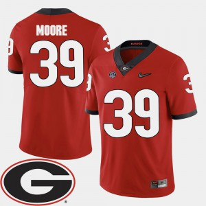 Georgia #39 For Men Corey Moore Jersey Red Stitched 2018 SEC Patch College Football 382578-996