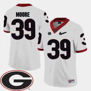 University of Georgia #39 Men Corey Moore Jersey White Player 2018 SEC Patch College Football 285745-814