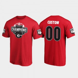 UGA Bulldogs #00 For Men Customized T-Shirts Red College 2019 SEC East Football Division Champions 505734-201