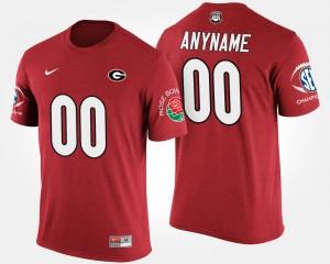 Georgia Bulldogs #00 Men Customized T-Shirt Red Alumni Southeastern Conference Rose Bowl Bowl Game 931371-988