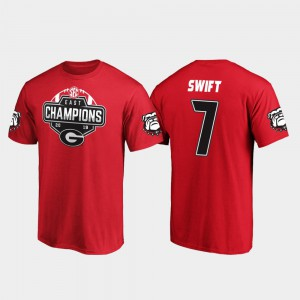 UGA #7 For Men D'Andre Swift T-Shirt Red Official 2019 SEC East Football Division Champions 421891-629