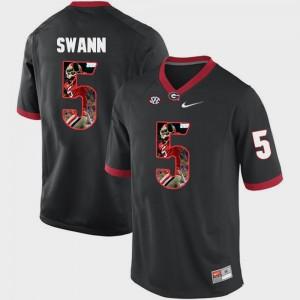 UGA Bulldogs #5 Men Damian Swann Jersey Black University Pictorial Fashion 797754-525