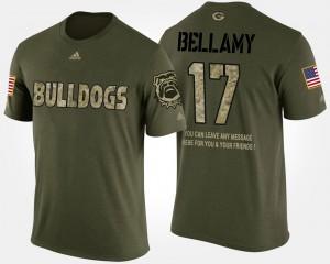 Georgia Bulldogs #17 Mens Davin Bellamy T-Shirt Camo Official Military Short Sleeve With Message 321284-372