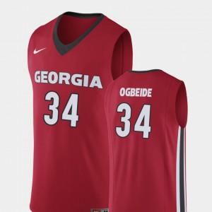 UGA Bulldogs #34 For Men's Derek Ogbeide Jersey Red High School Replica College Basketball 408660-522
