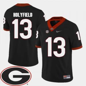 Georgia Bulldogs #13 Mens Elijah Holyfield Jersey Black University College Football 2018 SEC Patch 707882-910