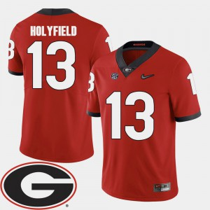 Georgia #13 Mens Elijah Holyfield Jersey Red Player 2018 SEC Patch College Football 163289-716
