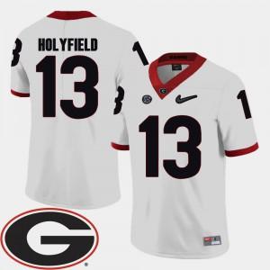 UGA #13 Mens Elijah Holyfield Jersey White 2018 SEC Patch College Football University 482611-352