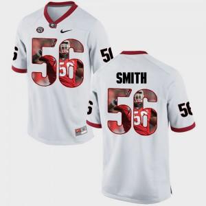 UGA #56 Men's Garrison Smith Jersey White Player Pictorial Fashion 861291-493