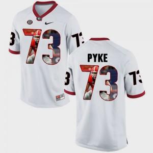 UGA Bulldogs #73 For Men Greg Pyke Jersey White Pictorial Fashion College 398207-585
