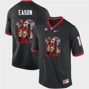 UGA Bulldogs #10 Men Jacob Eason Jersey Black University Pictorial Fashion 844705-346